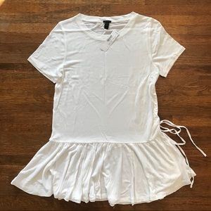 NWT J. Crew White Side-Ruched Peplum T-Shirt